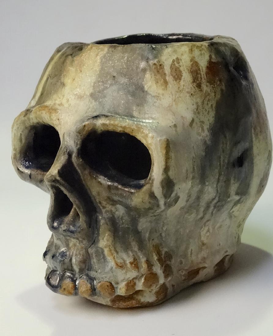 Halloween Skull Art Pottery Lantern Studio Vase Artist