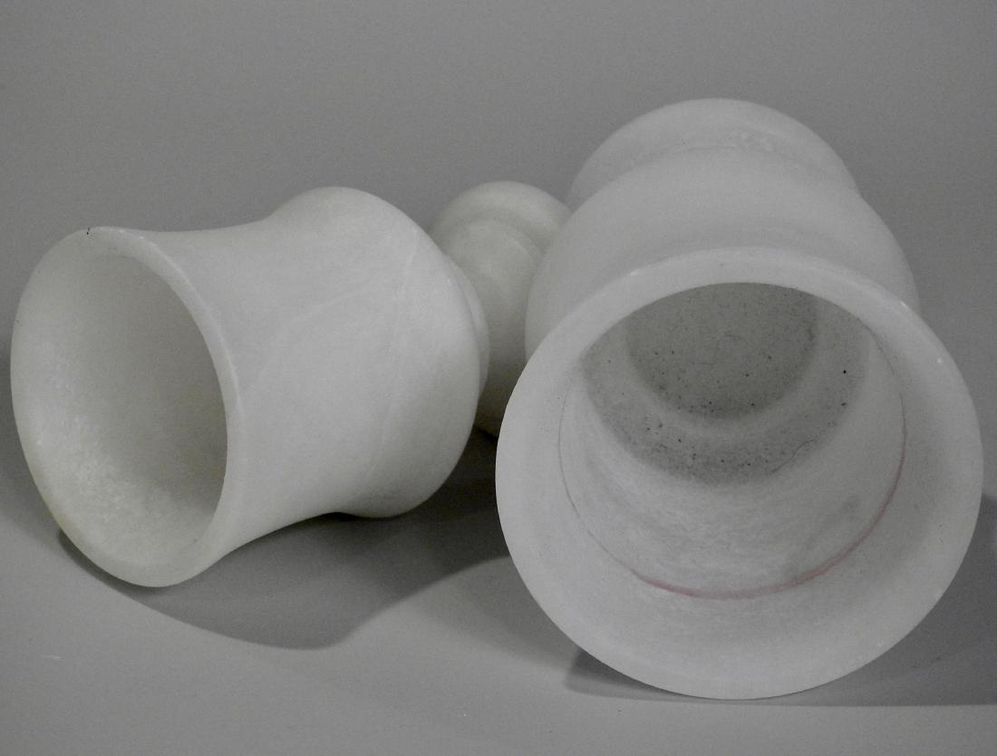 Carved Alabaster Marble Lantern Vase Candle Holders - 2