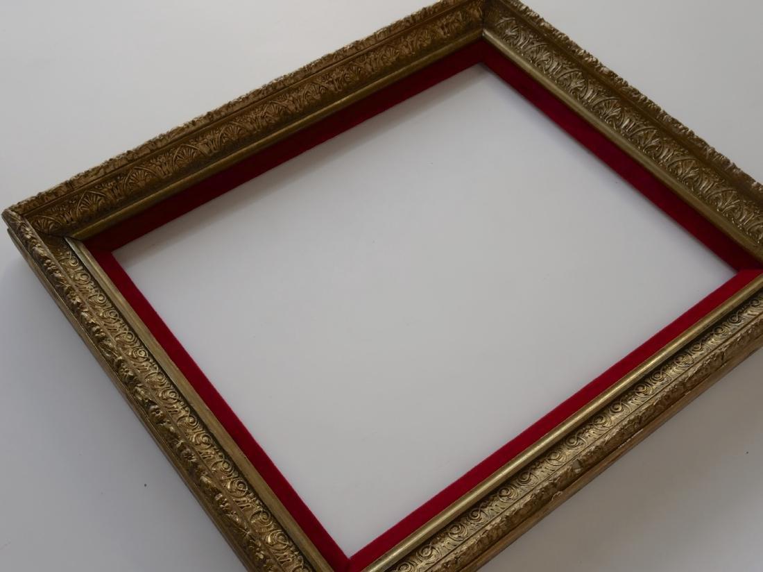 Antique Victorian Gold Frame Red Velvet Liner - 2