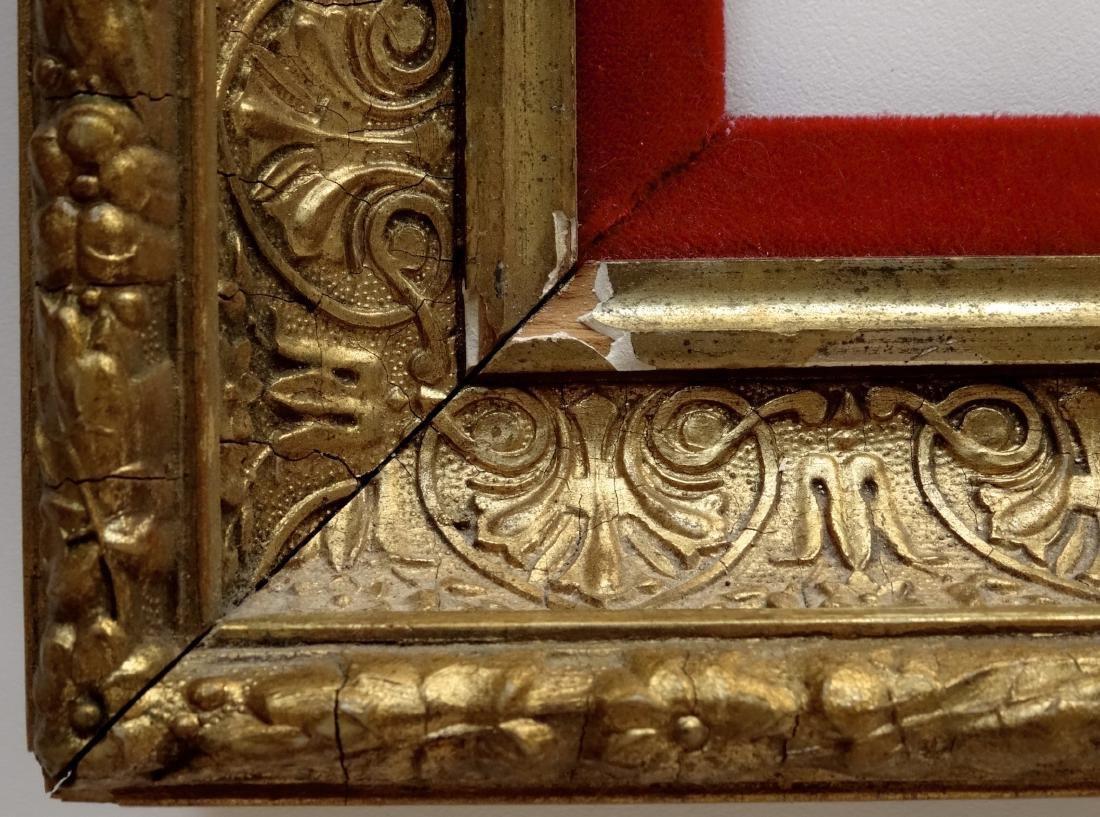 Antique Victorian Gold Frame Red Velvet Liner - 3