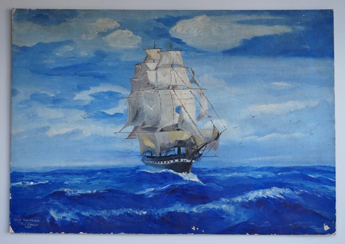 Vintage 1938 Seascape Sailing Ship Oil on Canvas Board