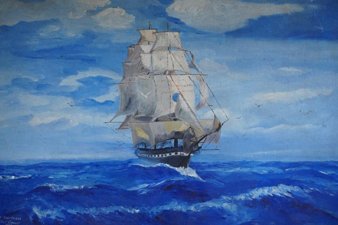 Vintage 1938 Seascape Sailing Ship Oil on Canvas Board - 2