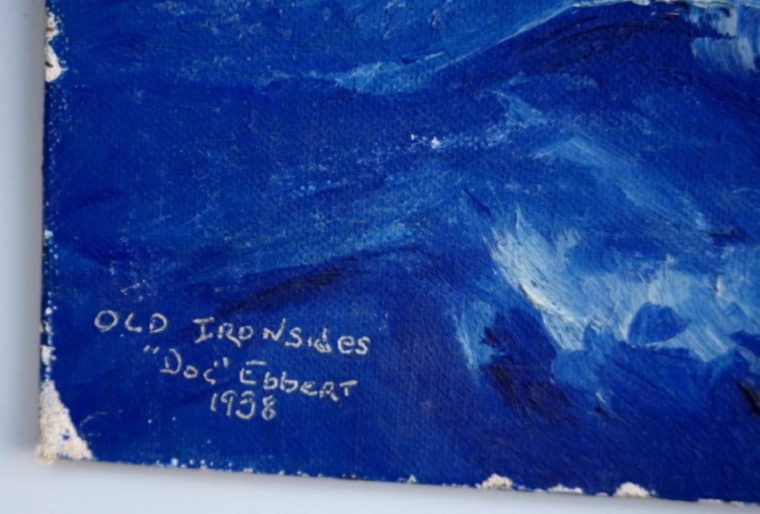 Vintage 1938 Seascape Sailing Ship Oil on Canvas Board - 3