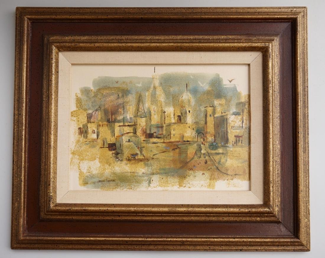 Mid Century Abstract Print Signed Framed City VIew