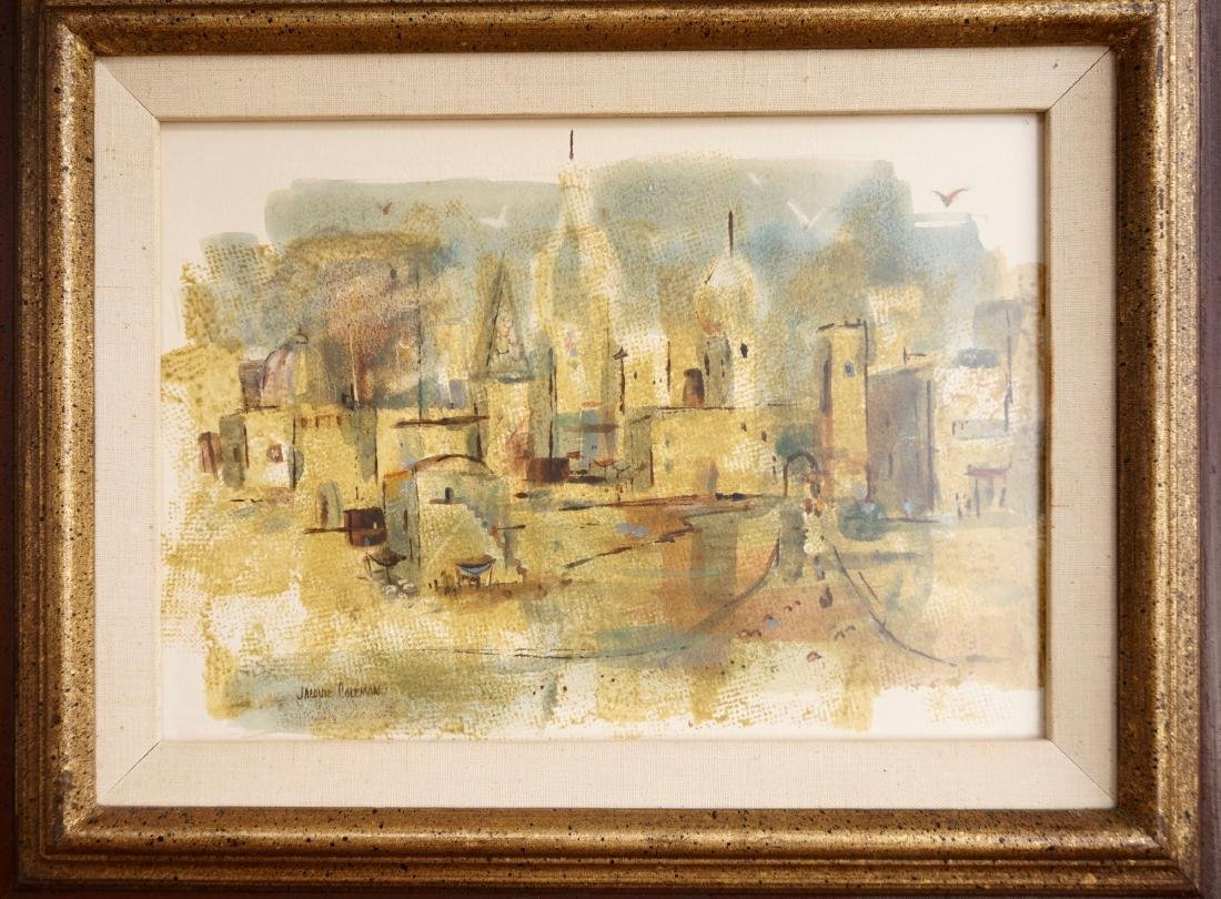 Mid Century Abstract Print Signed Framed City VIew - 2