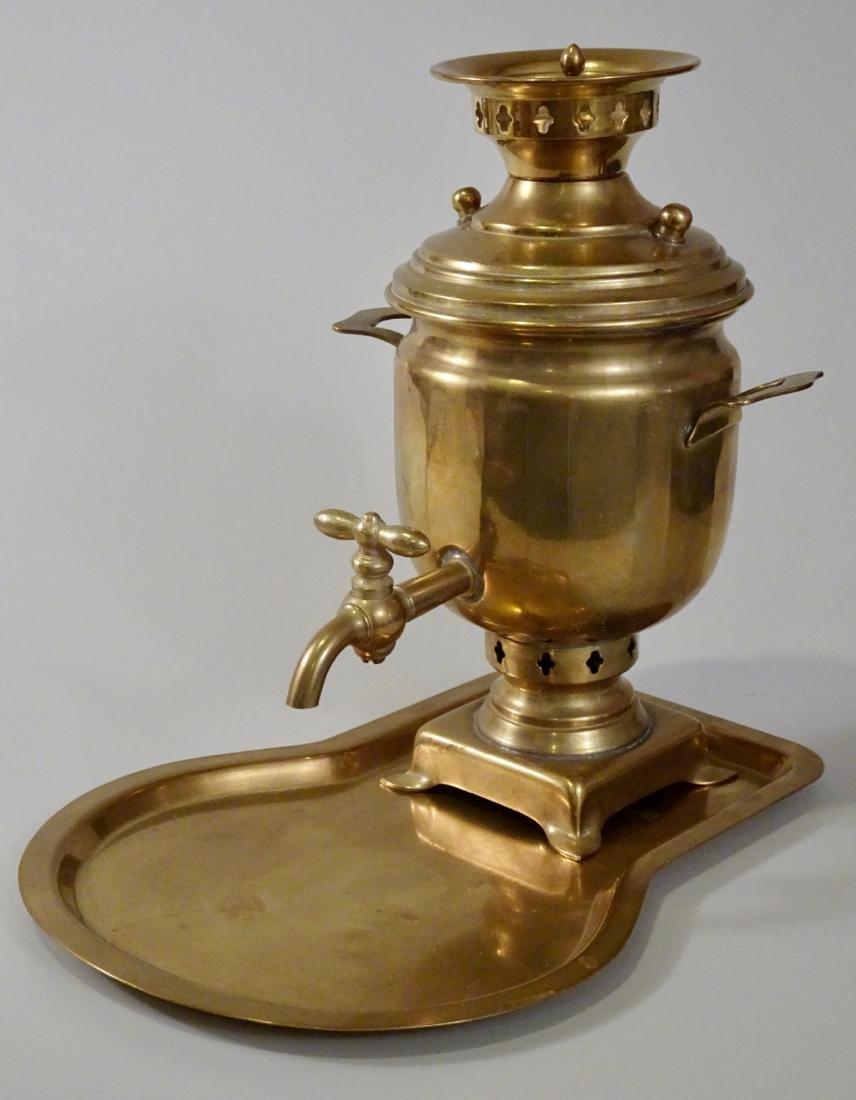 Antique Hallmarked Brass Miniature Samovar With Tray