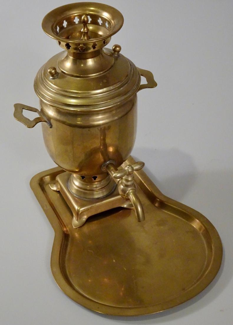 Antique Hallmarked Brass Miniature Samovar With Tray - 2