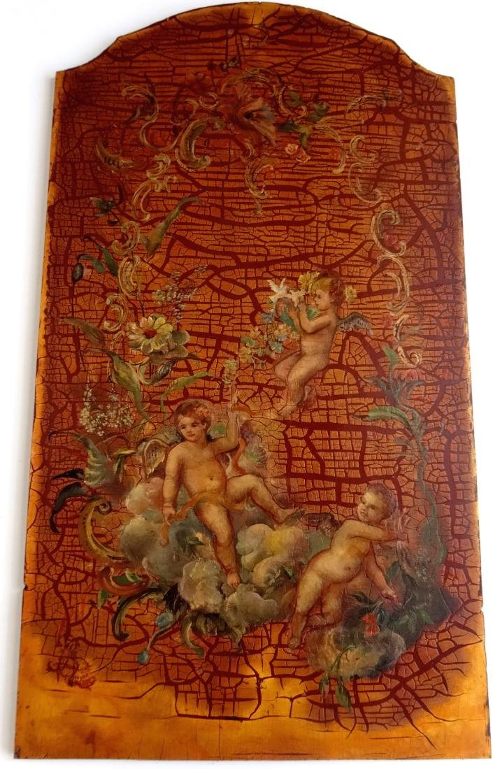 Painted on Wood Cherubs Putti Panel Signed 1788 Wall Pl