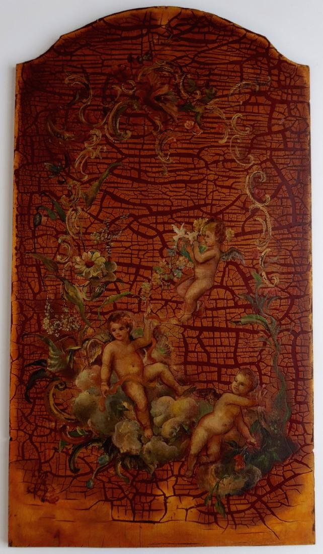 Painted on Wood Cherubs Putti Panel Signed 1788 Wall Pl - 2