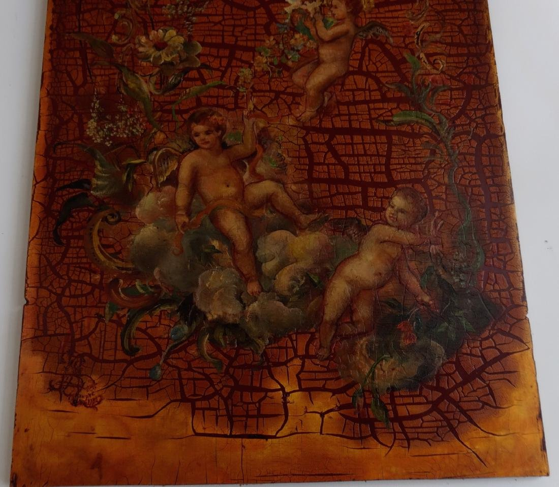 Painted on Wood Cherubs Putti Panel Signed 1788 Wall Pl - 3
