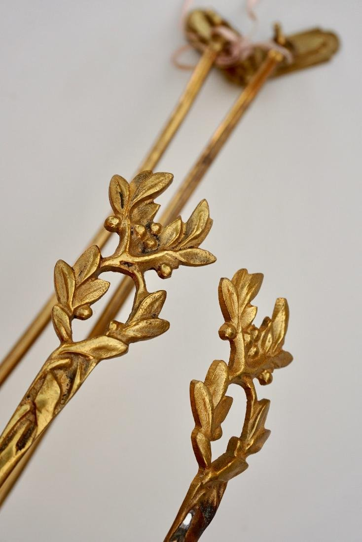 French Vintage Brass Drapery Tiebacks Pair Curtain Hook - 5