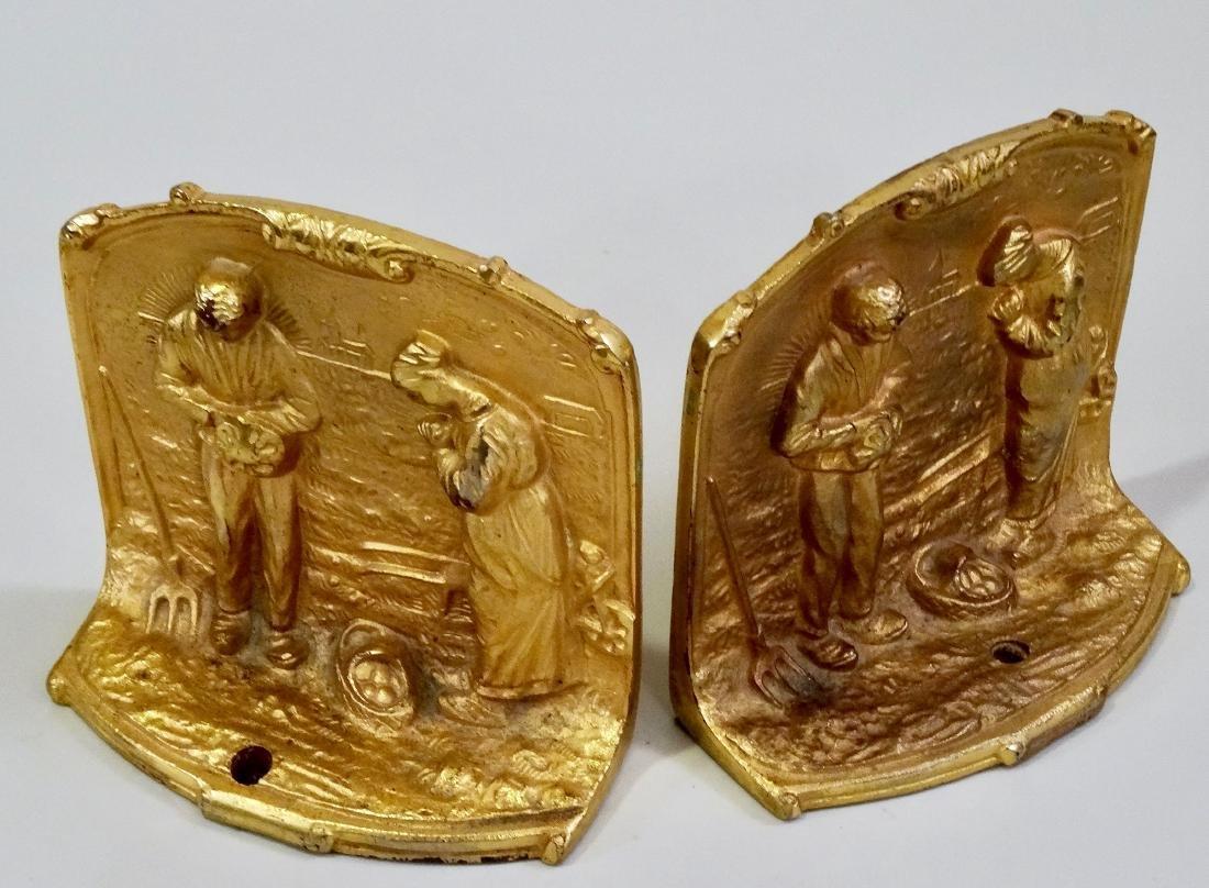 Gilded Cast Iron Bookends Angelus Prayers c 1900 Pair