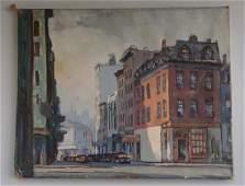 Vintage Mid Century American Urban Oil On Canvas