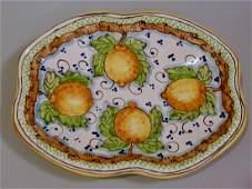 Italian Sicilian Majolica Pottery Platter Limoni Hand