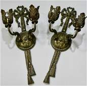 Antique French Wall Sconces Cast Brass Two Arm Candle
