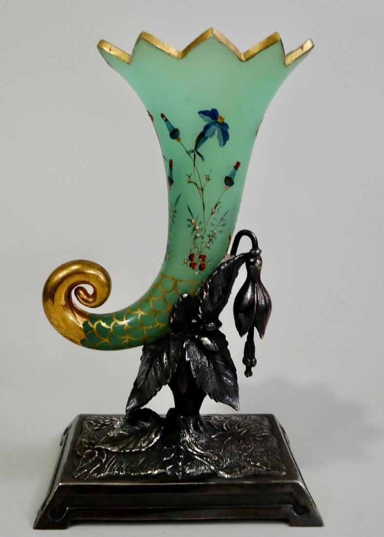 Victorian Green Cornucopia Gilt Art Glass Bud Vase