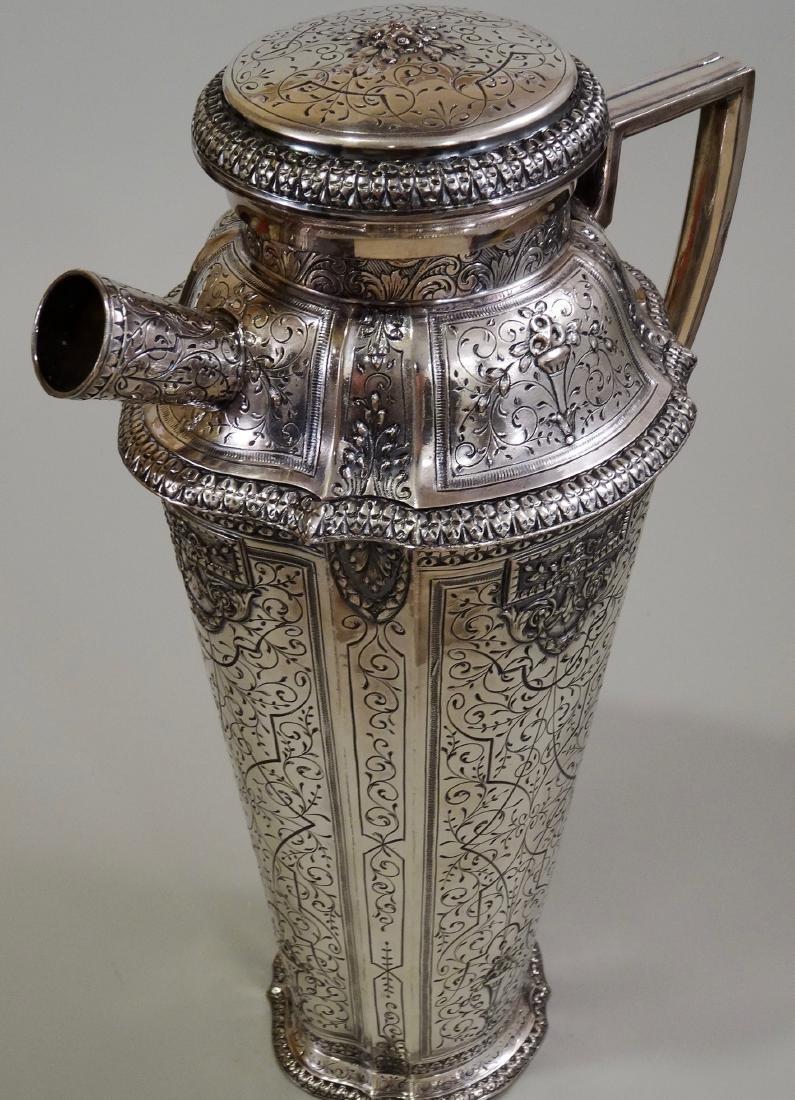 Antique Silver Repousse Cocktail Shaker Webster & Son - 3