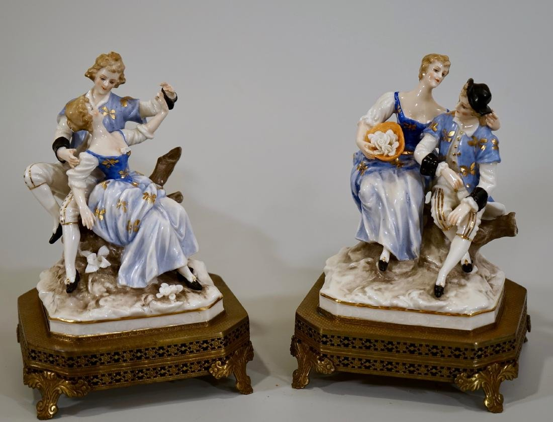 Vintage German Courting Couple Porcelain Figurines on