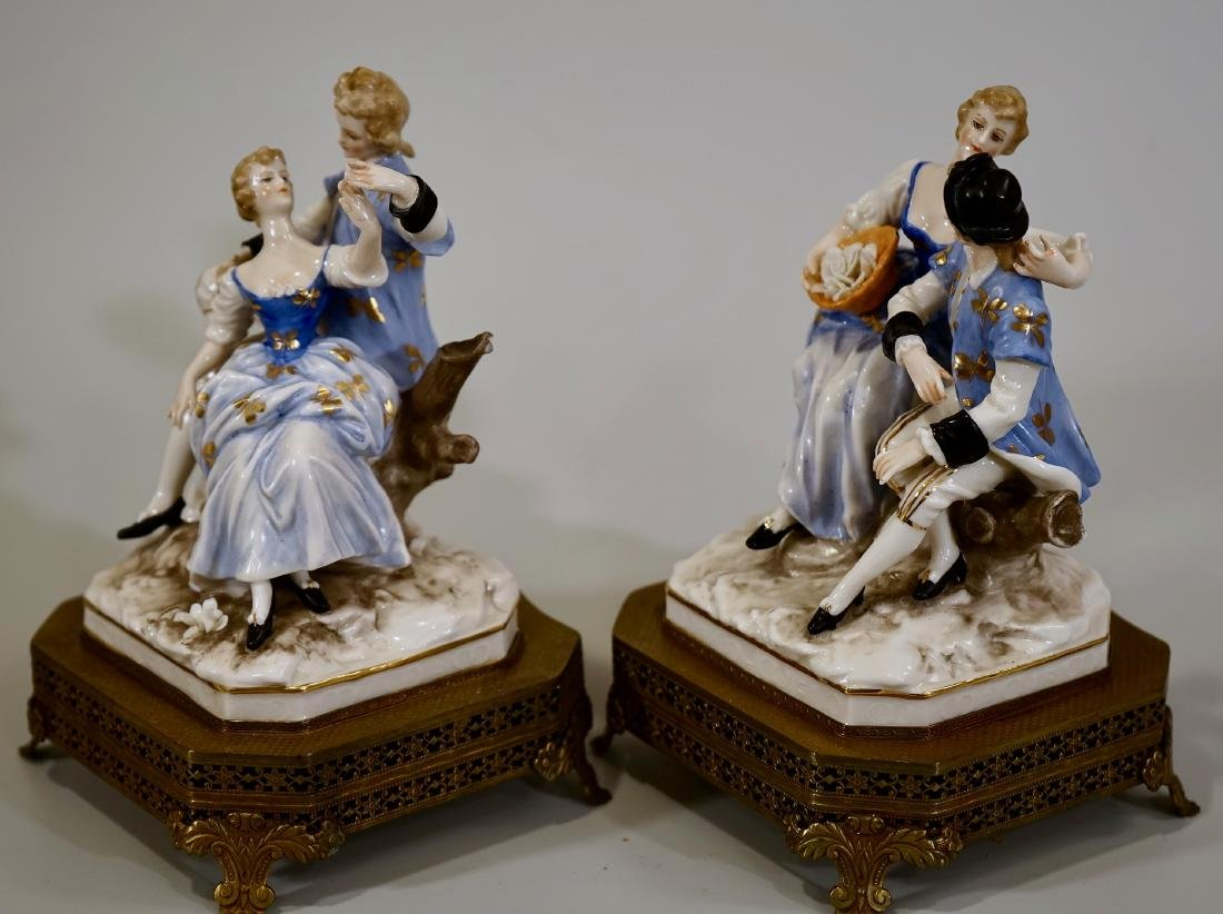 Vintage German Courting Couple Porcelain Figurines on - 2