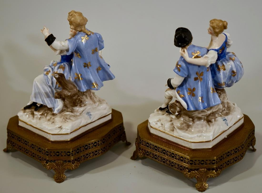 Vintage German Courting Couple Porcelain Figurines on - 3