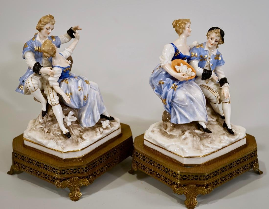 Vintage German Courting Couple Porcelain Figurines on - 5