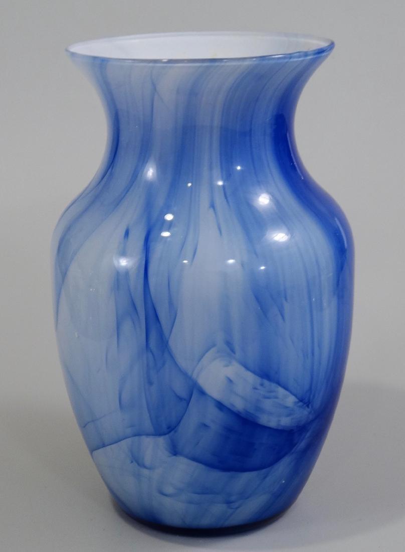 Blue White Art Glass Flower Vase