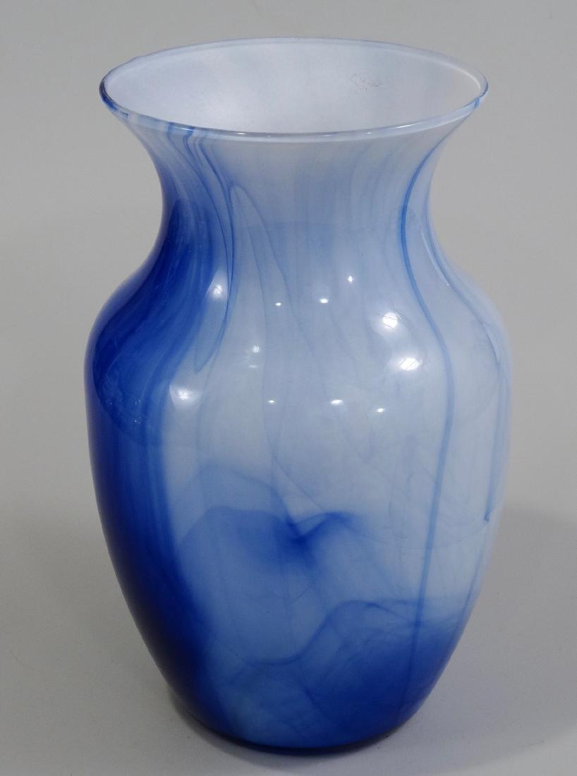 Blue White Art Glass Flower Vase - 2