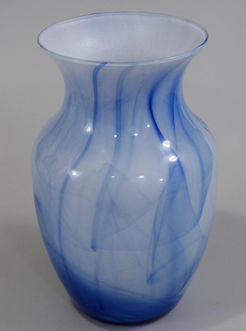 Blue White Art Glass Flower Vase - 3