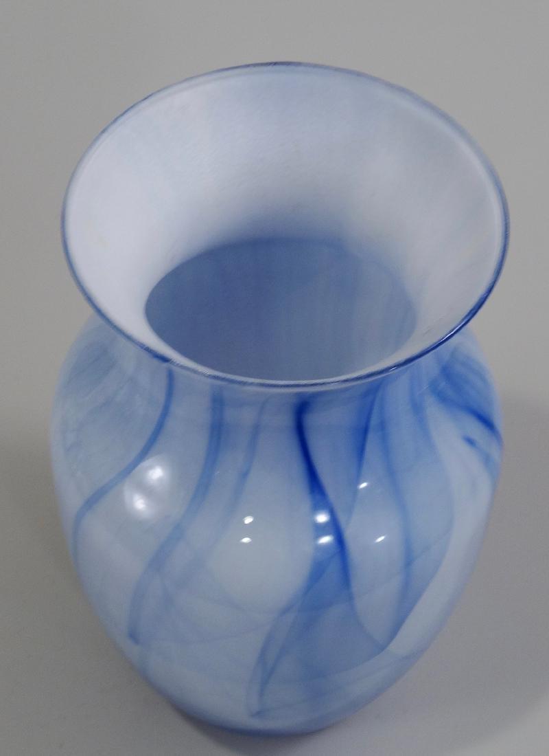 Blue White Art Glass Flower Vase - 5