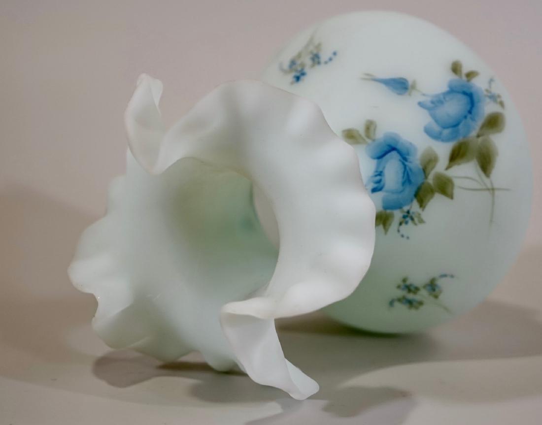 Fenton Blue Custard Burmese Glass Ruffle Vase Hand - 6