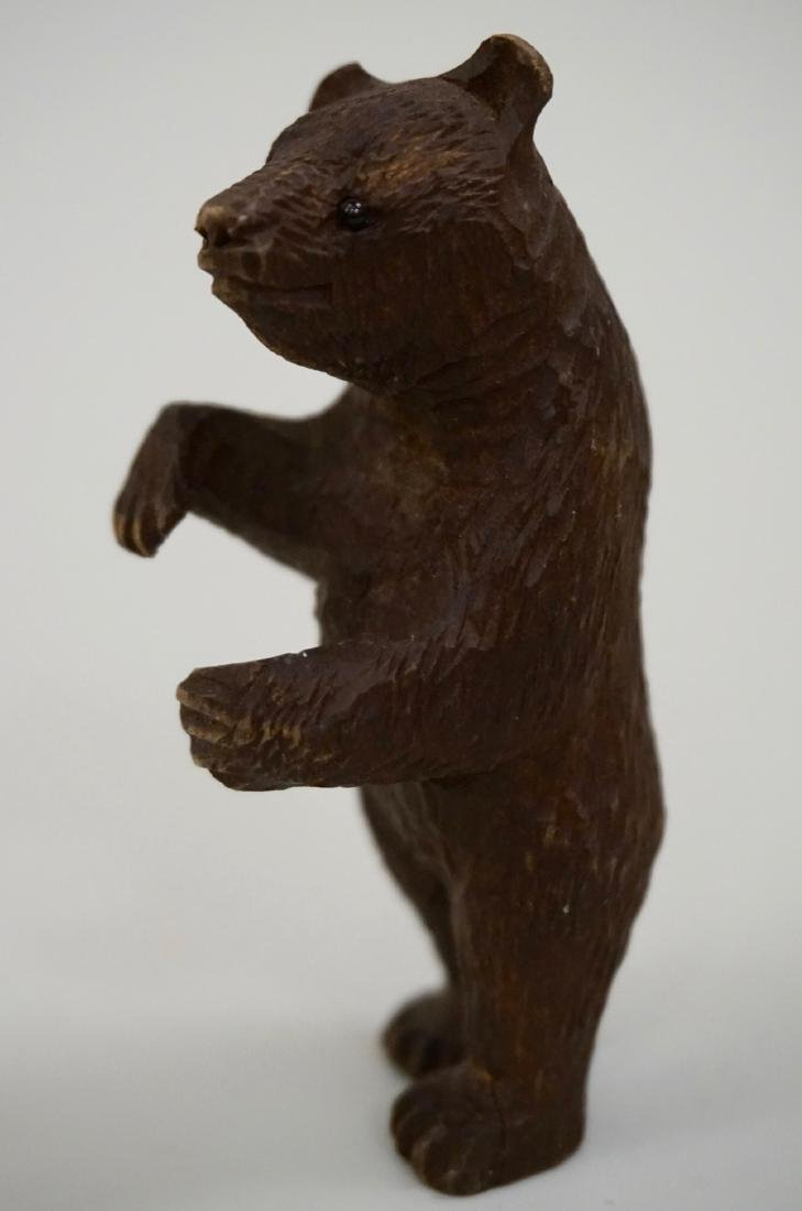 Small Black Forest Carved Bear Figurine Glass Eyes