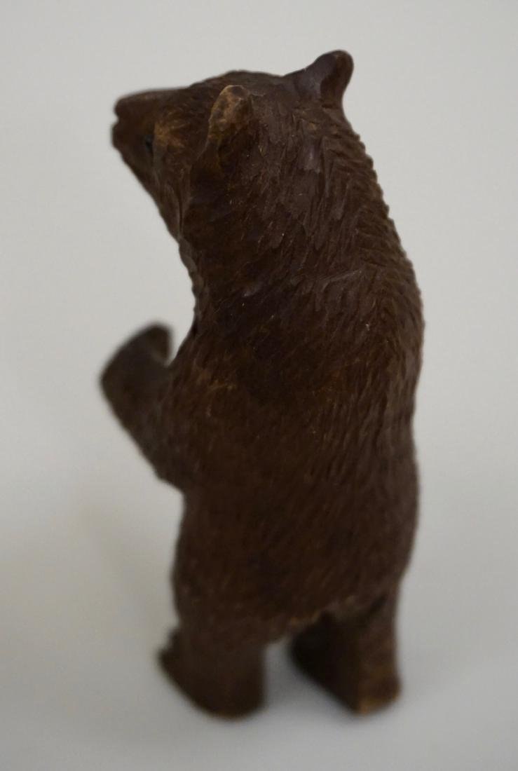 Small Black Forest Carved Bear Figurine Glass Eyes - 2