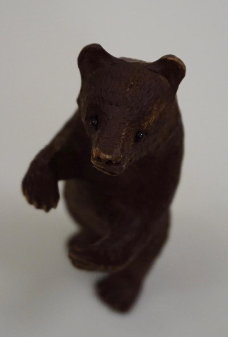 Small Black Forest Carved Bear Figurine Glass Eyes - 3