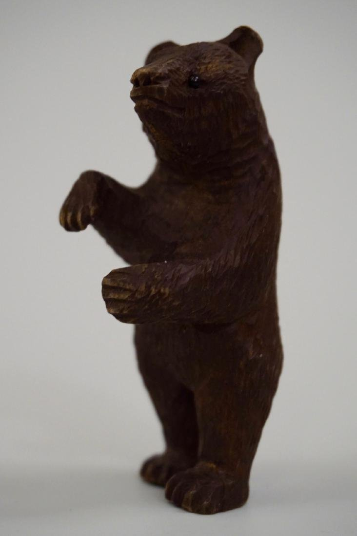 Small Black Forest Carved Bear Figurine Glass Eyes - 4