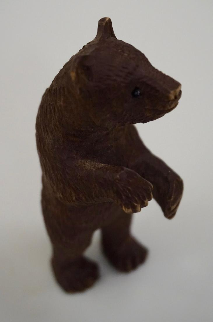 Small Black Forest Carved Bear Figurine Glass Eyes - 5