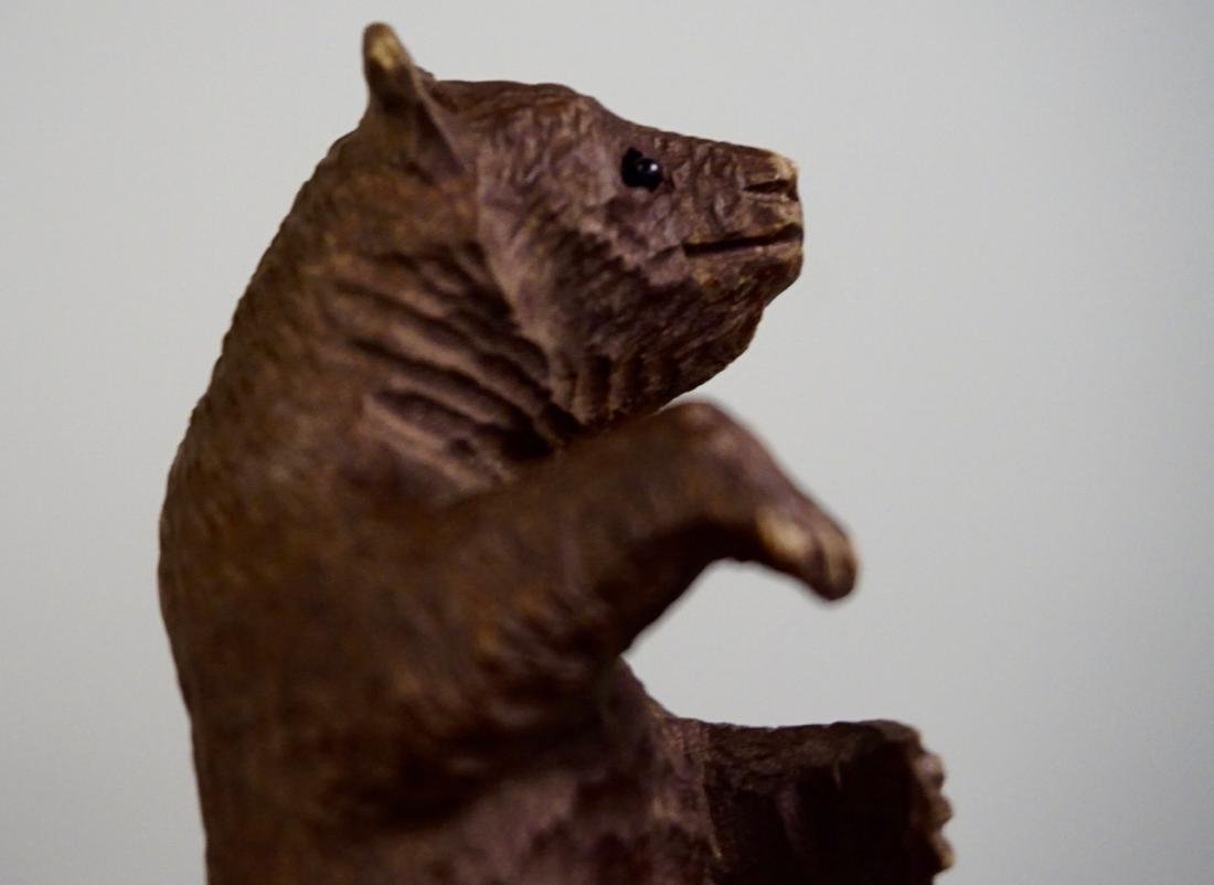 Small Black Forest Carved Bear Figurine Glass Eyes - 6