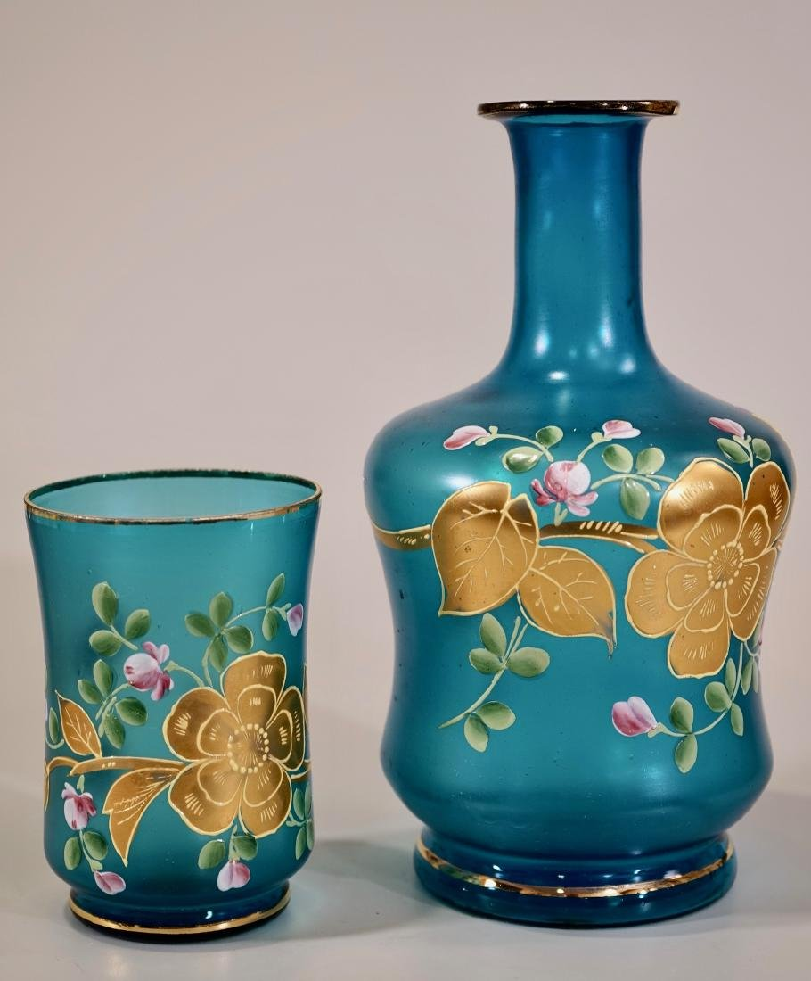 Vintage Venetian Blue Murano 24k Gold Painted Glass