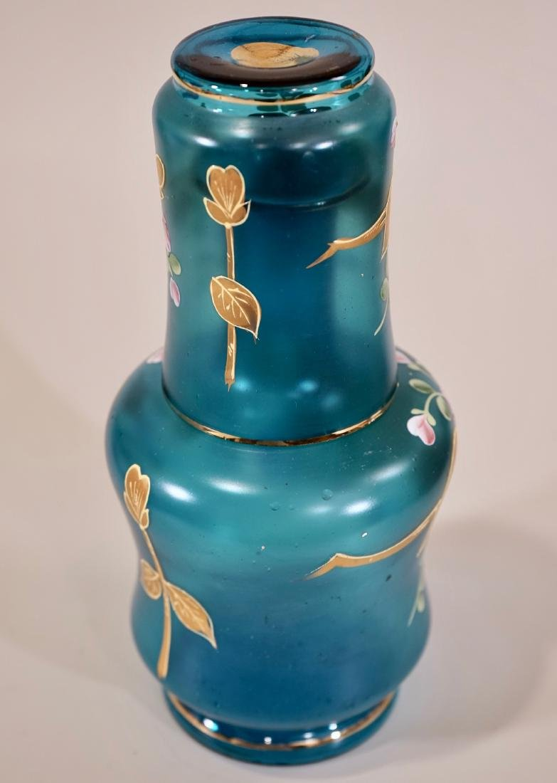Vintage Venetian Blue Murano 24k Gold Painted Glass - 3