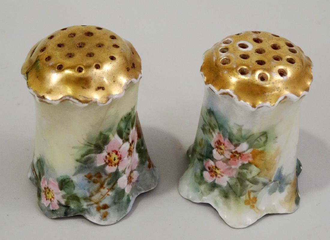Hand Painted Art Nouveau Porcelain Salt Pepper Shakers - 2