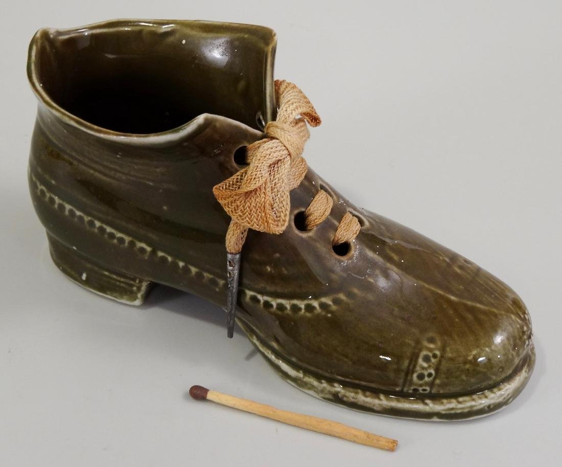 German Ceramic Shoe Matchstick Holder Original Shoelace