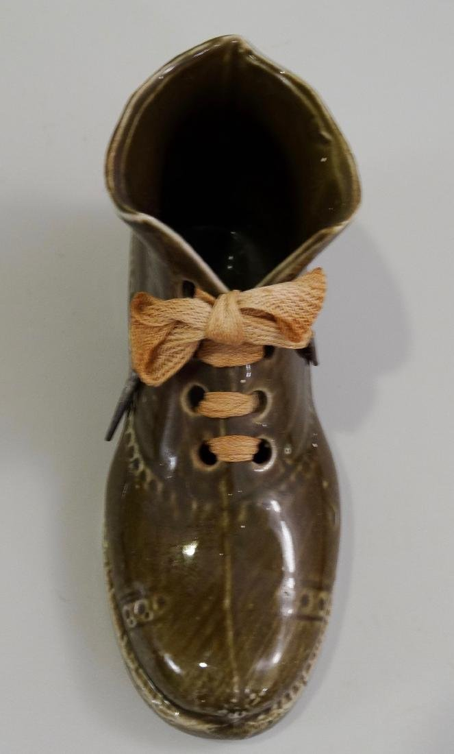 German Ceramic Shoe Matchstick Holder Original Shoelace - 2