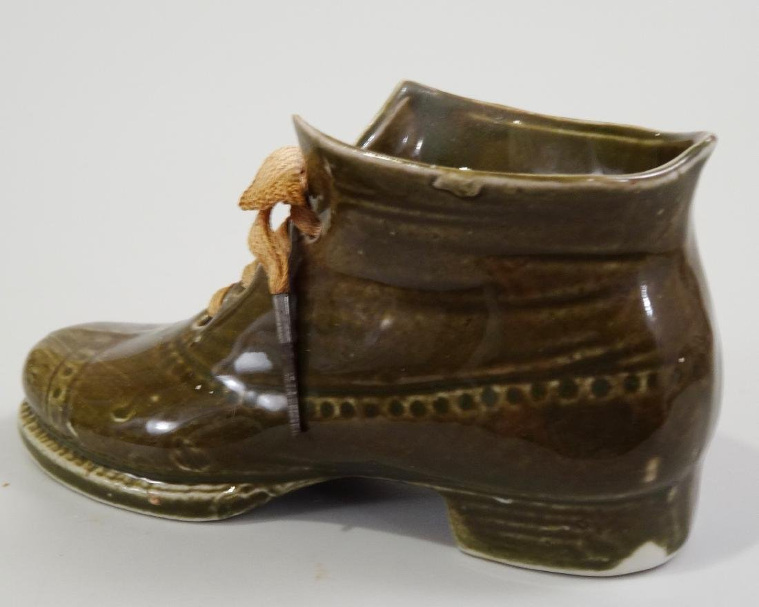 German Ceramic Shoe Matchstick Holder Original Shoelace - 5