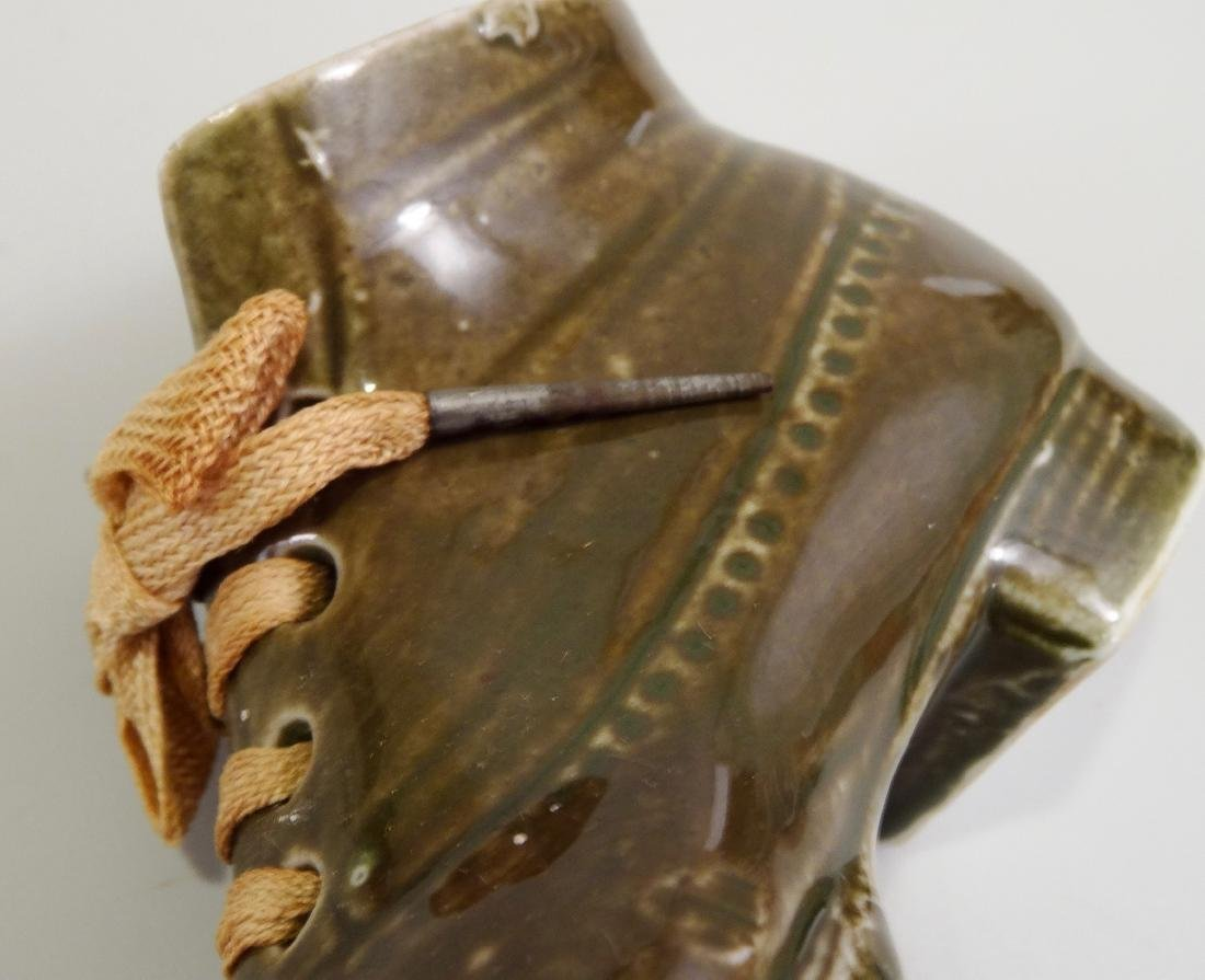 German Ceramic Shoe Matchstick Holder Original Shoelace - 7