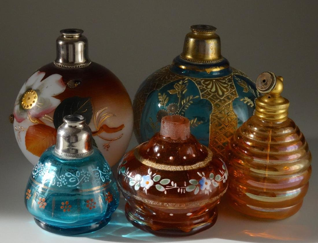 Collection of 5 Antique Glass Perfume Bottle Atomizers