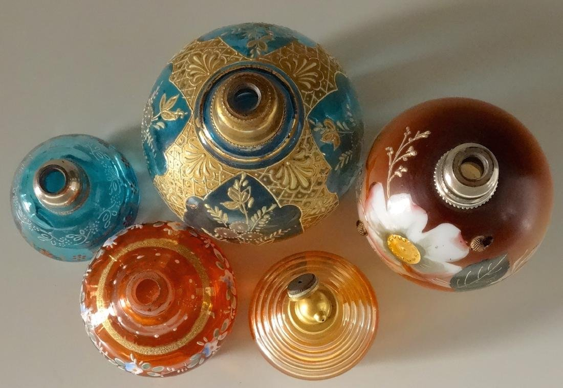 Collection of 5 Antique Glass Perfume Bottle Atomizers - 8