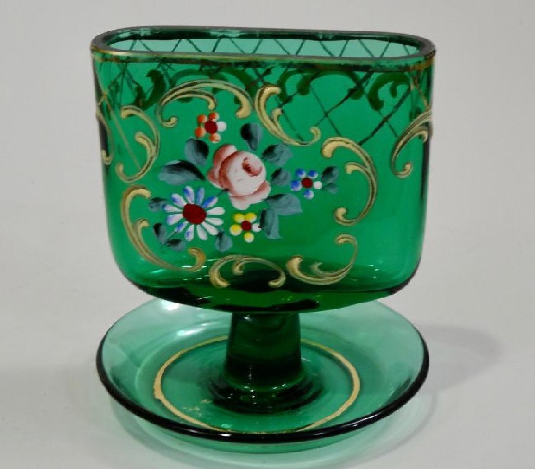 Vintage Tobacciana Enameled Green Glass Ashtray Hand Pa