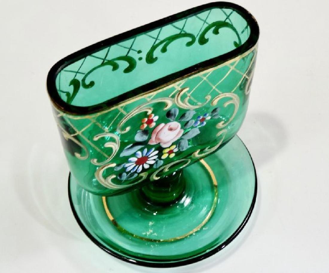 Vintage Tobacciana Enameled Green Glass Ashtray Hand Pa - 2