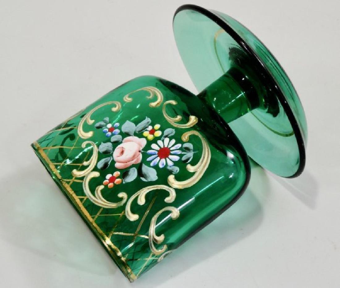 Vintage Tobacciana Enameled Green Glass Ashtray Hand Pa - 3