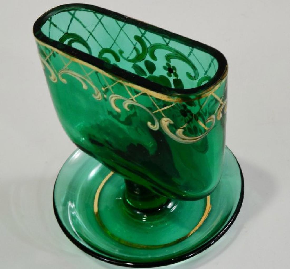 Vintage Tobacciana Enameled Green Glass Ashtray Hand Pa - 5