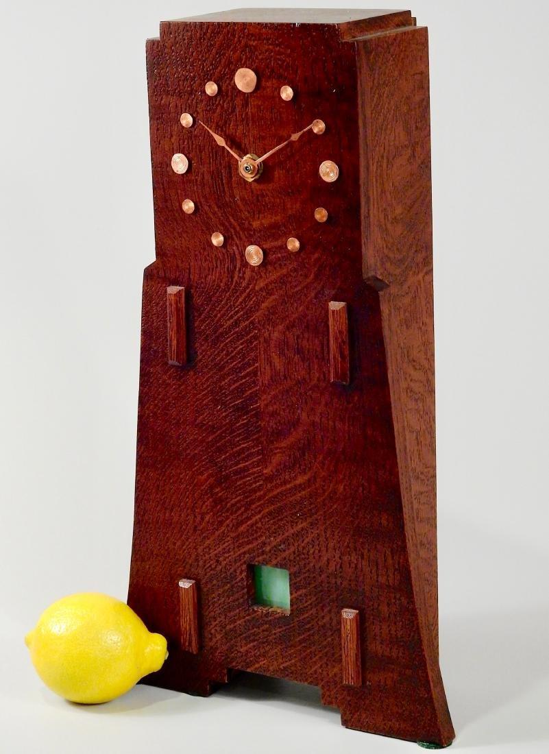 Art Craft Style Oak Desk Clock Copper Fittings Slate